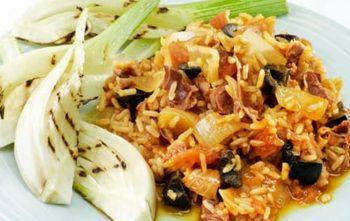 Griekse rijst met tonijn en venkel